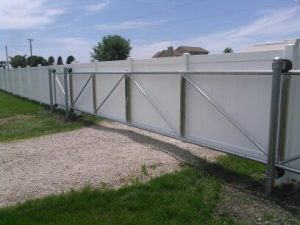 CANTILEVER GATE WITH PRIVACY PANELS ADDED